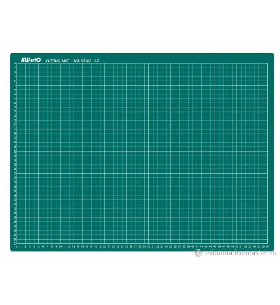Коврик-подкладка настольный для резки А3 (450х300 мм), сантиметровая шкала, зеленый, 3 мм