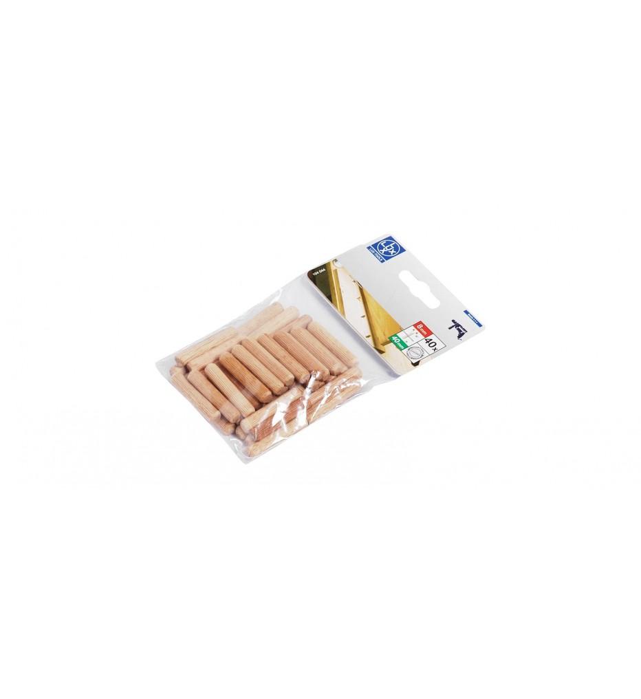 Набор рифленых деревянных нагелей (шкантов) 8х40 мм