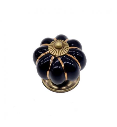 Ручка керамическая Тыква, черная