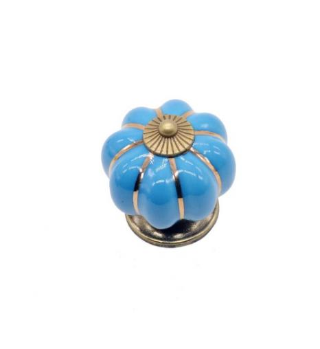 Ручка керамическая Тыква, голубая