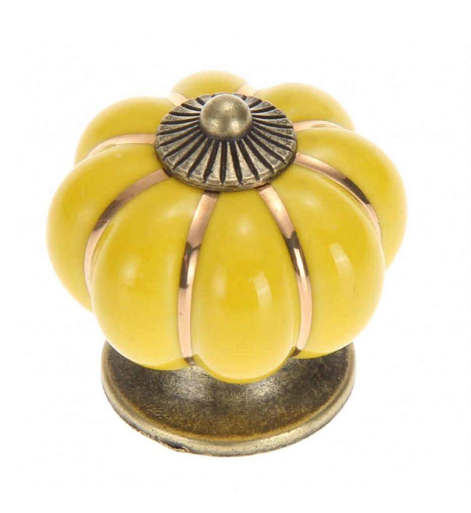 Ручка керамическая Тыква, желтая